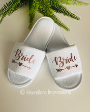 Load image into Gallery viewer, Bridal Personalised Slippers - Open Toe (White)