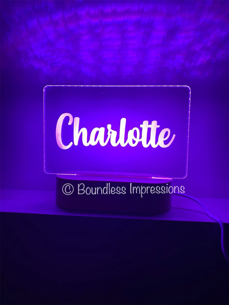 Personalised Name Night Light - Beech (Multi Coloured Light)