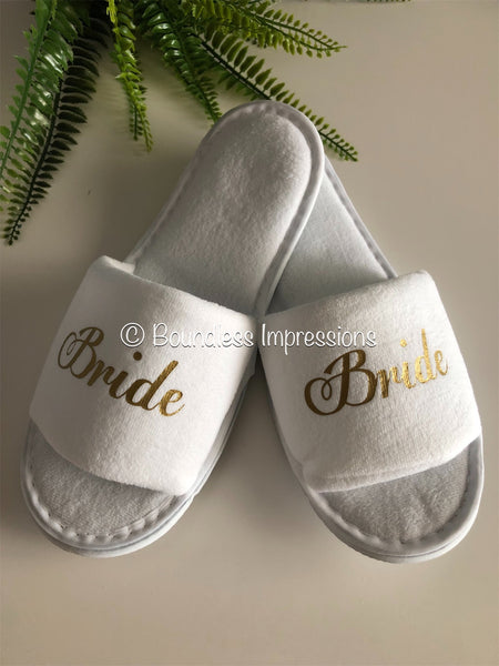 Bridal Personalised Slippers - Open Toe (White)