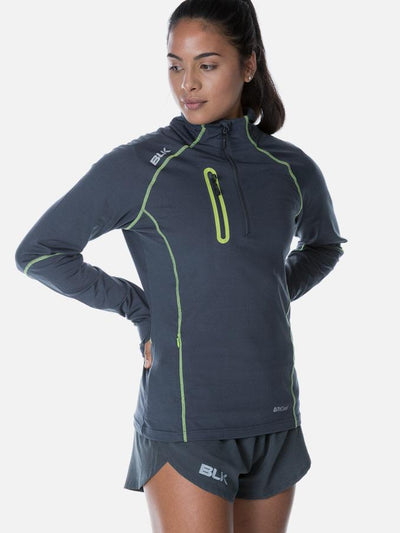 Performance Ladies Warm Up Top Grey/lime Tee