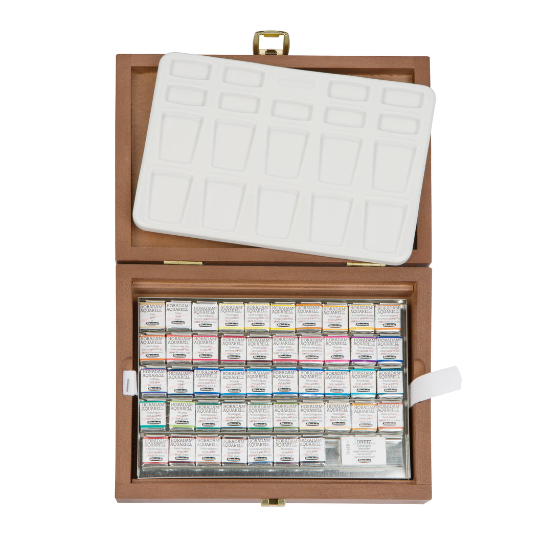 Schmincke HORADAM Artists Watercolour - 48 Half Pan Wooden Box