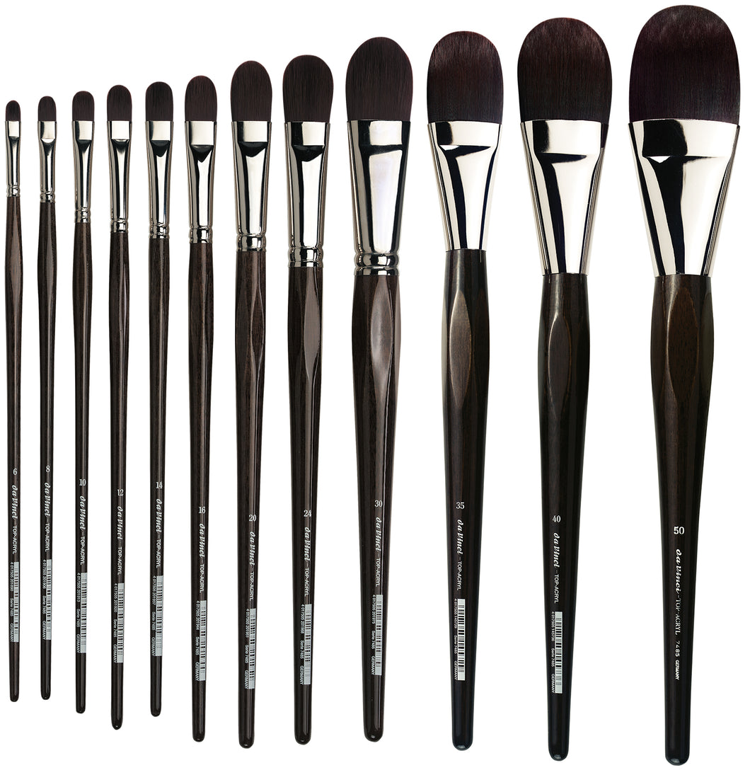 Da Vinci TOP-ACRYL Series 7485 Synthetic Filbert Brushes