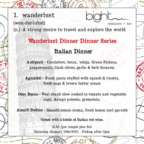 Wanderlust Dinner Series - Italy - January 16th, 2021