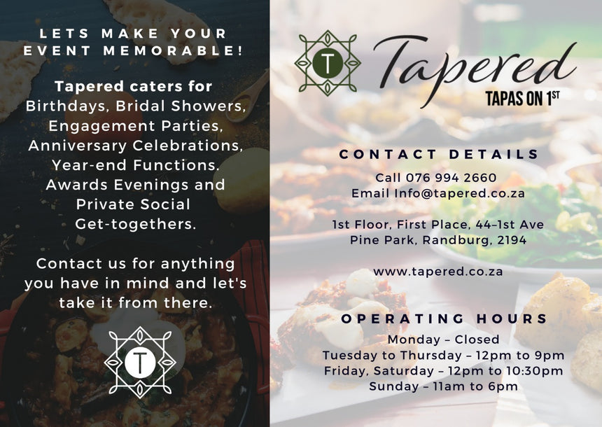 Tapered tapas on 1st (Johannesburg/Gauteng) - Top Up