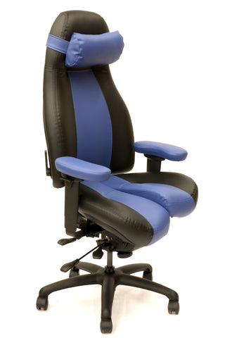 Ultimate Executive high-back Core-flex in Black Satin/Lake Louise two tone Naugasoft with neck pillow $2,520