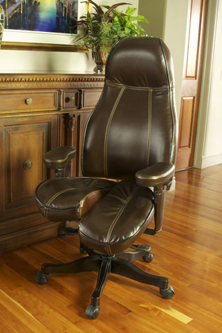 Ultimate Executive high-back Core-flex in Mocha/Black two-tone Stone Mountain leather with cream contrast stitching and black wood trim $3,740