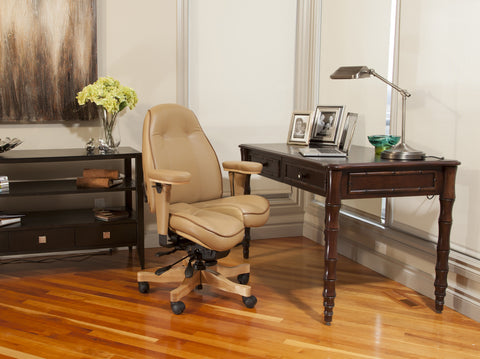 Ultimate Executive mid-back in Pecan/Hide UltraLeather two-tone with contrast piping and natural wood trim $3,040