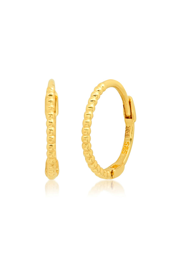 14k Gold Ball Hinged Hoop Earrings
