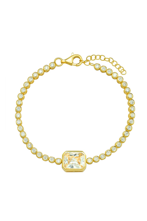 Bezel Set Tennis Bracelet with Solitaire