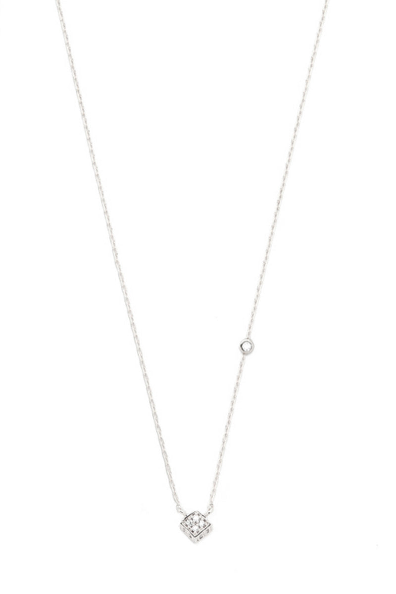 Simple Chain Necklace with CZ Cube