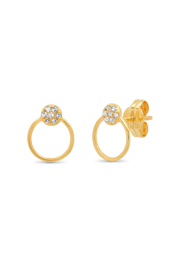 14k Gold White Topaz Circle Studs with Open Circle