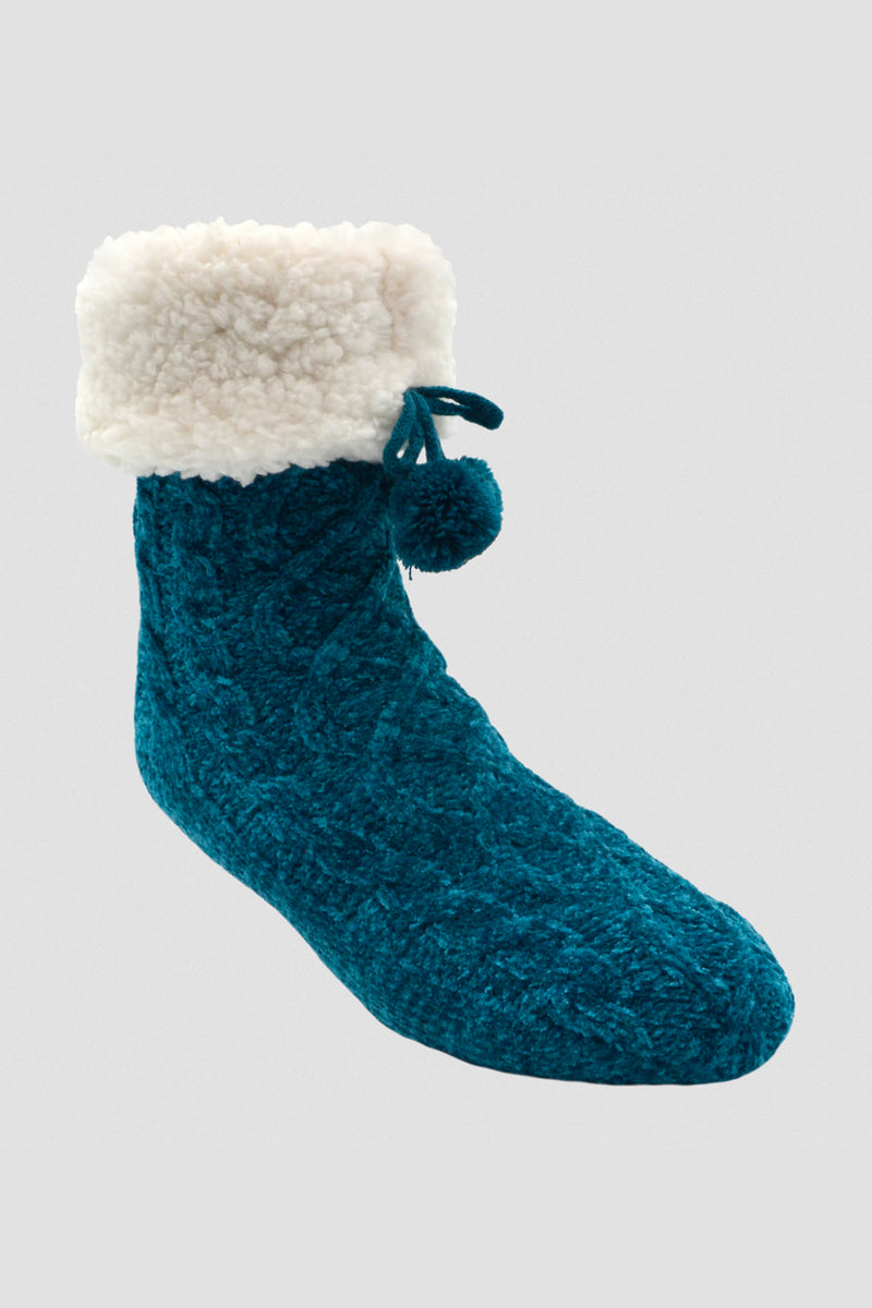 Chenille Cable Knit Classic Slipper Socks