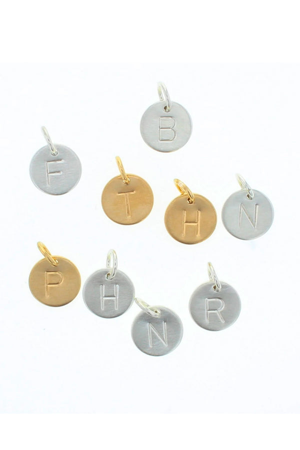 Round Mini Letter Tag Charm - Silver