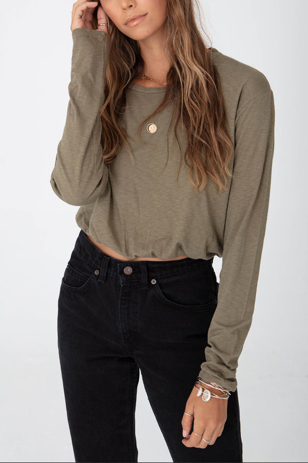 Long Sleeve Crop Boyfriend Tee Elastic Waist