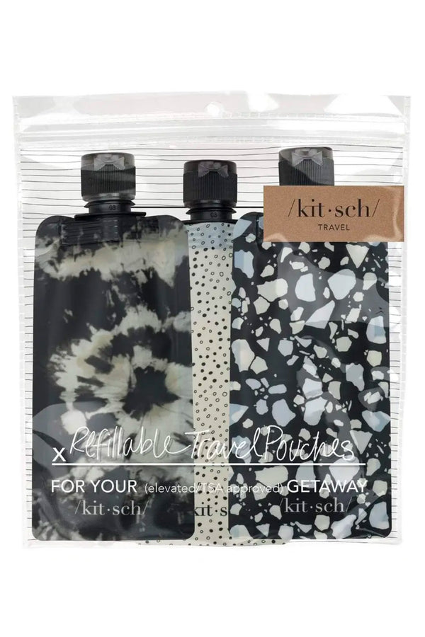 Refillable Travel Pouches 3pc Set (Assorted Colors & Prints)