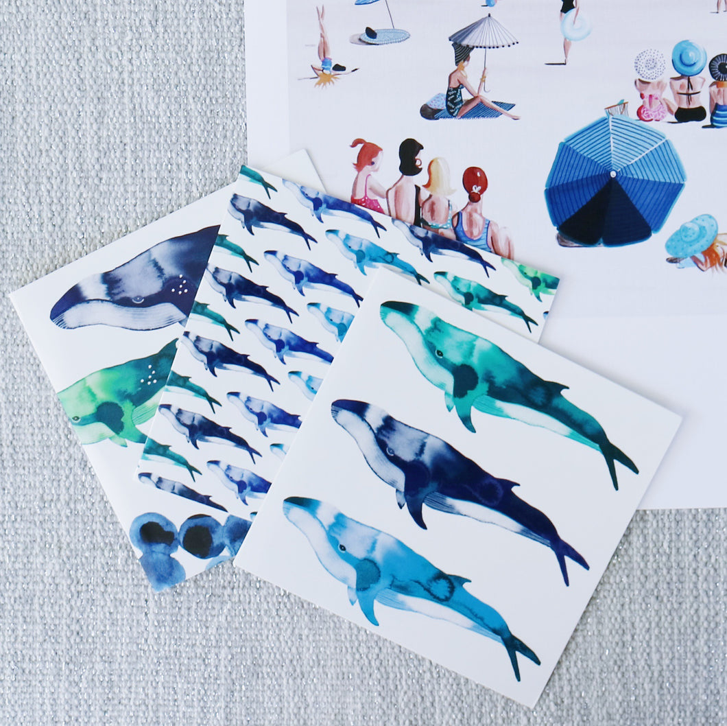 SET OF THREE - HUMP BACK WHALE CARDS