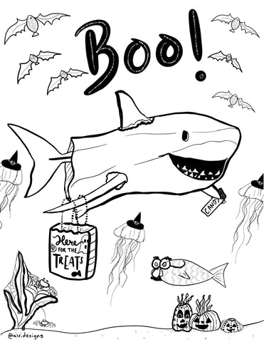 halloween shark coloring page