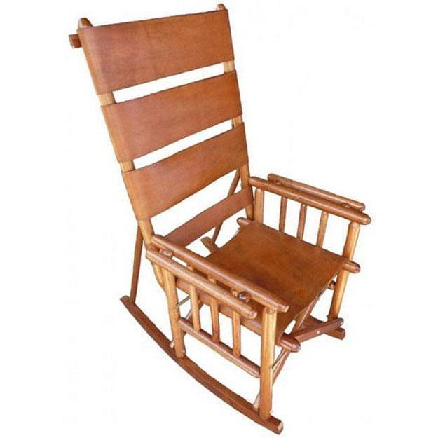 High Back RockingChair Plain Leather
