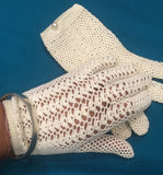 Vintage off white crocheted gloves by Frances Hirsch