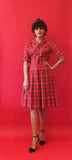 Vintage Plaid Shirt Dress cut and sewn by Hand