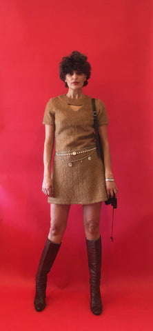Vintage 1960s Caramel Babydoll Dress