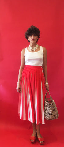 Vintage Liz Clairbonne Red Striped Candy pleated Skirt