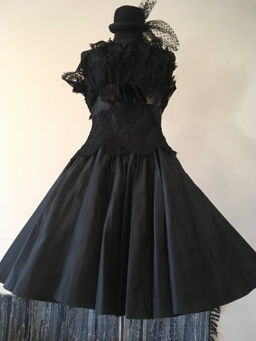 1980's Loube Black Strapless Cocktail Dress