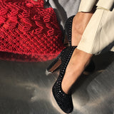 Vintage Black velvet studded Prada Pumps - Fashion Flair Bazaar - Sustainable Fashion-2