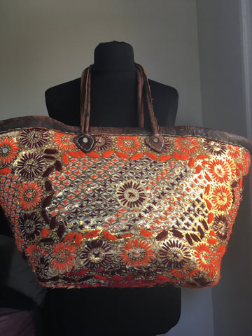 Orange embroidered basket - Fashion Flair Bazaar - Sustainable Fashion-1