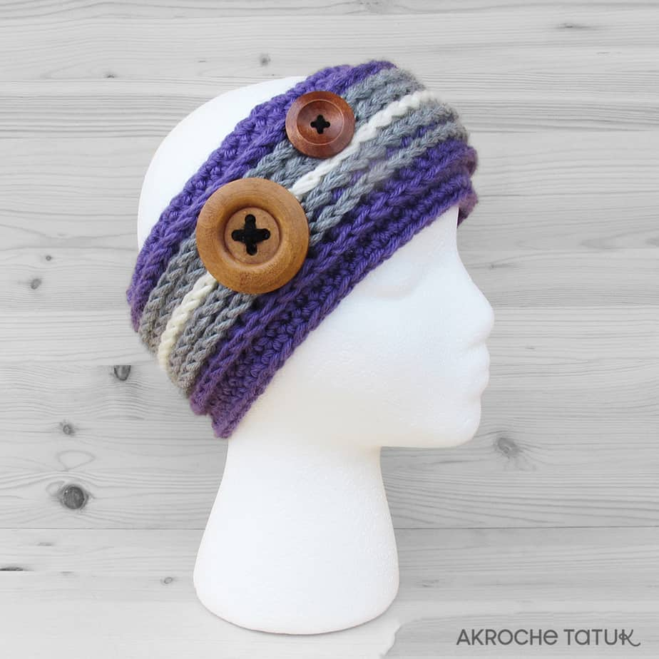 Ready-to-wear - Alaska headband in lavender and gray