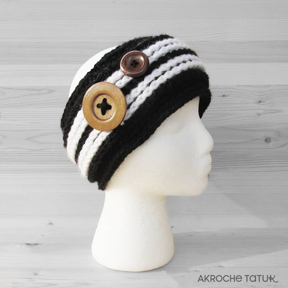 Ready-to-wear - Alaska headband in black and white