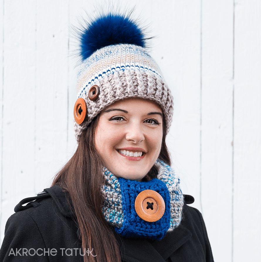 Ready-to-crochet - Rustik Kit in cookie and regatta