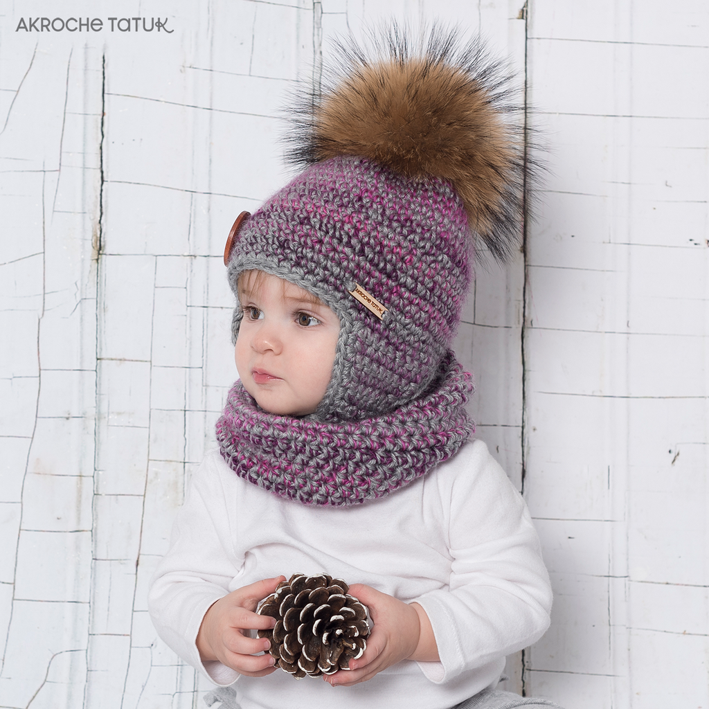 Ready-to-crochet – Boreal kit in Petunia and Light Gray