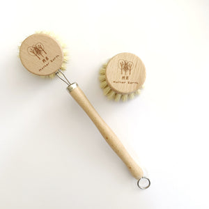 Beechwood & Sisal Fiber Kitchen Dish Brush with Refill Head