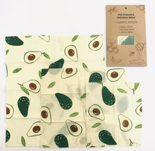 Load image into Gallery viewer, Beeswax Food Wraps in Avocado Print 3-Pack