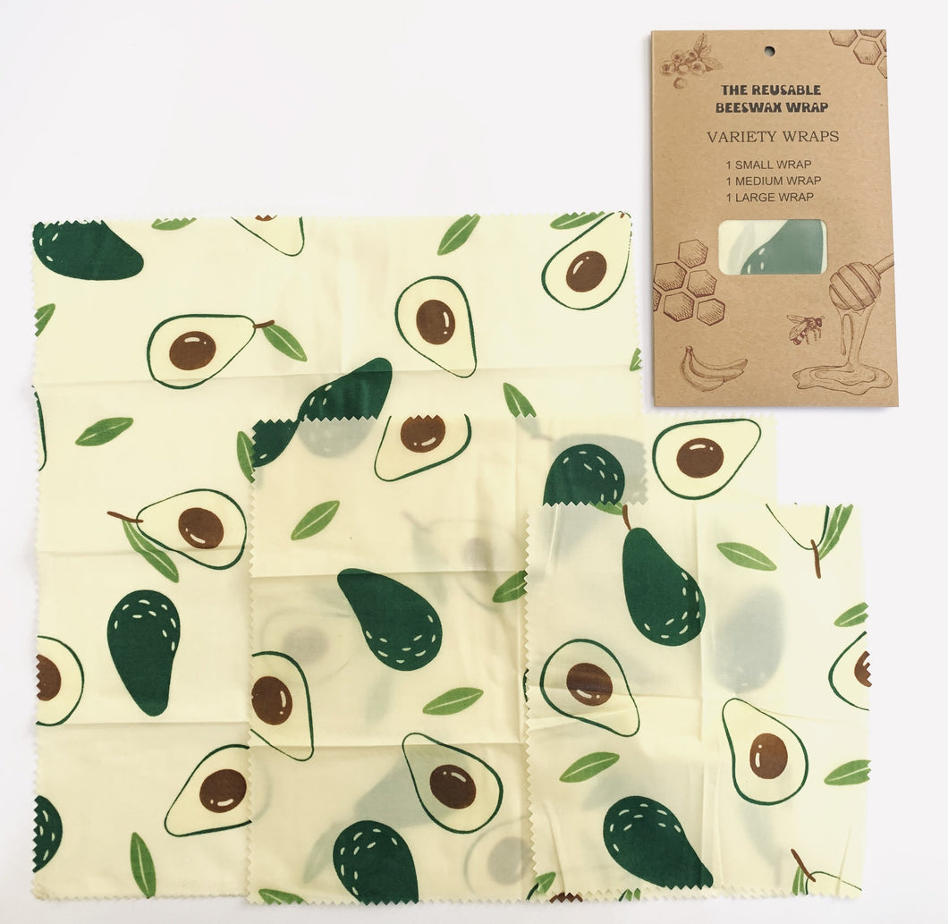 Beeswax Food Wraps in Avocado Print 3-Pack