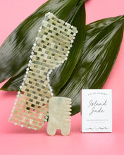 Load image into Gallery viewer, ISLAND JADE Gemstone Gua Sha + Massaging Comb