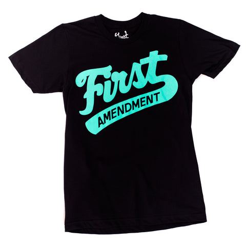 FIrst Amendment T-Shirt - Teal on Black