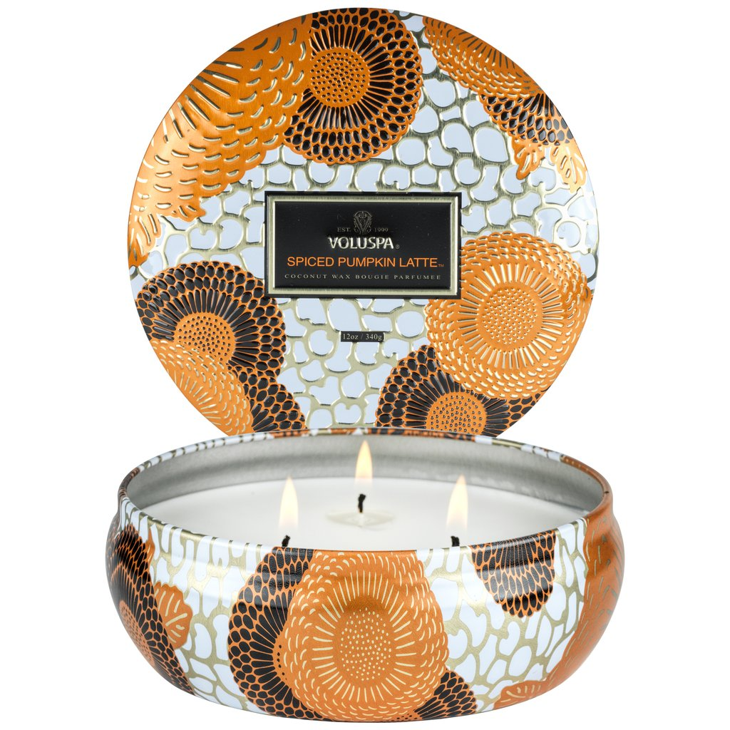 VOLUSPA-SPICED PUMPKIN LATTE 3 WICK HEARTH CANDLE