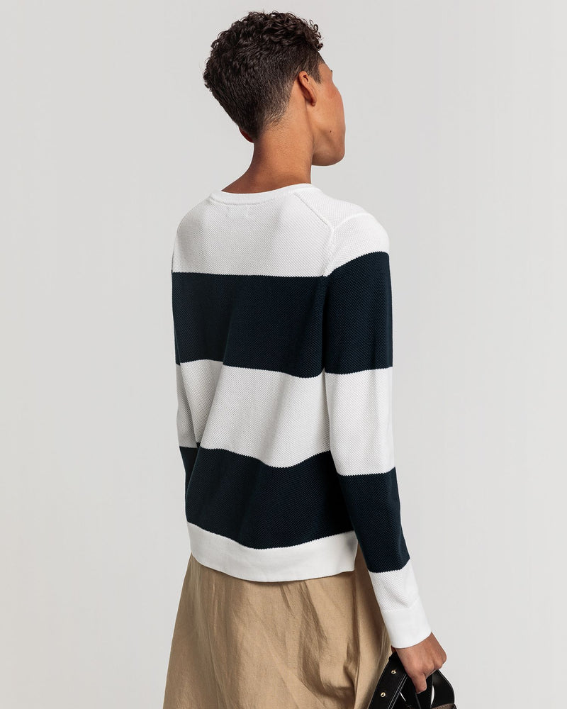 Cotton Pique Block Stripe Crew