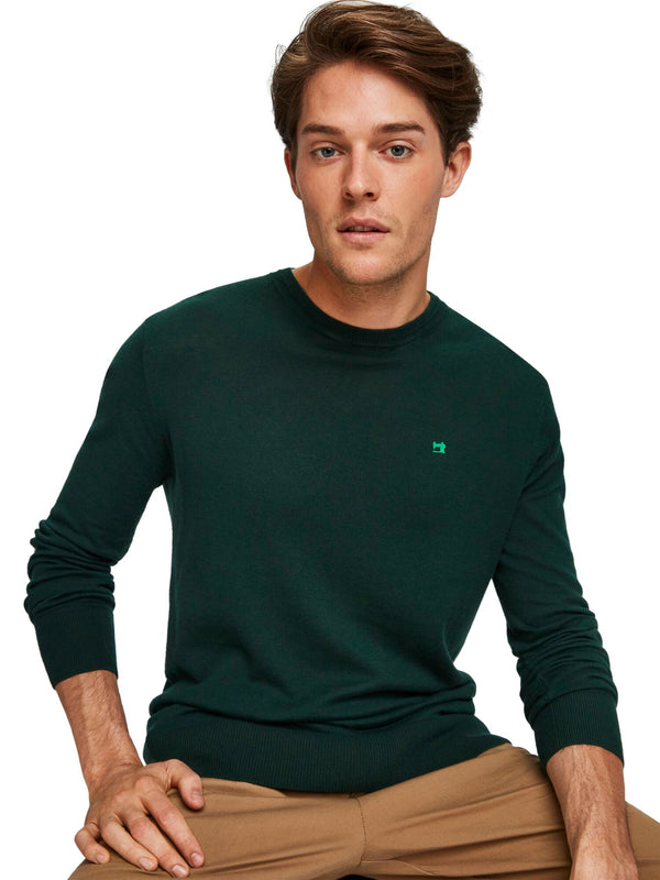 Classic Crewneck Pullover In Structured Knit