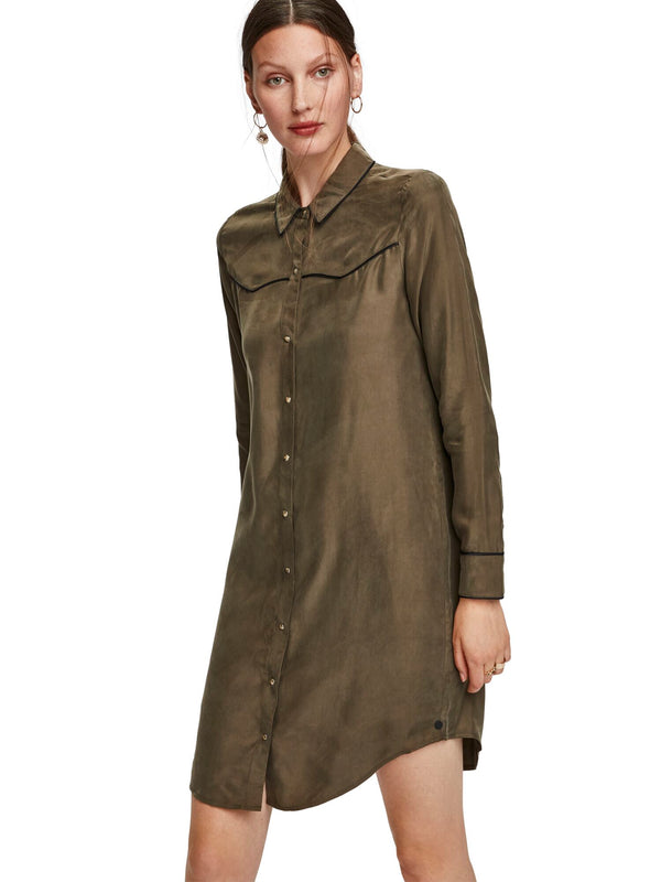 Shirt Dress In Cupro Viscose Blend