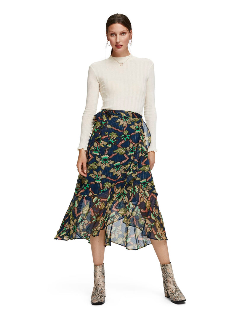 Allover Printed Sheer Ruffle Skirt With High Low Hem