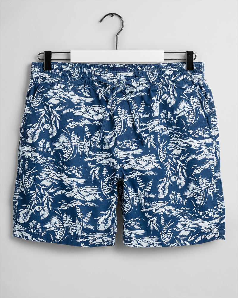 Relaxed Fit Printed Logo Shorts - Insignia Blue
