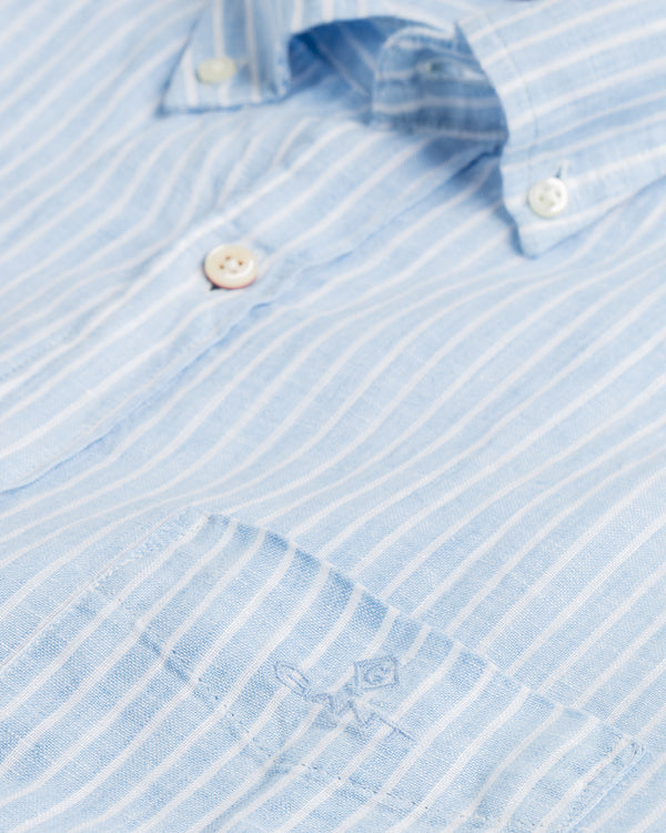 Regular Fit Stripe Linen Shirt - Capri Blue