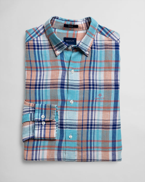 Regular Fit Linen Madras - Aqua