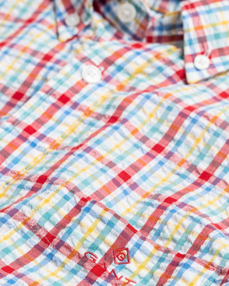 Seersucker Check Short Sleeve Shirt  - Bright Red