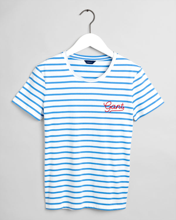 Breton Stripe T-Shirt - Pacific Blue