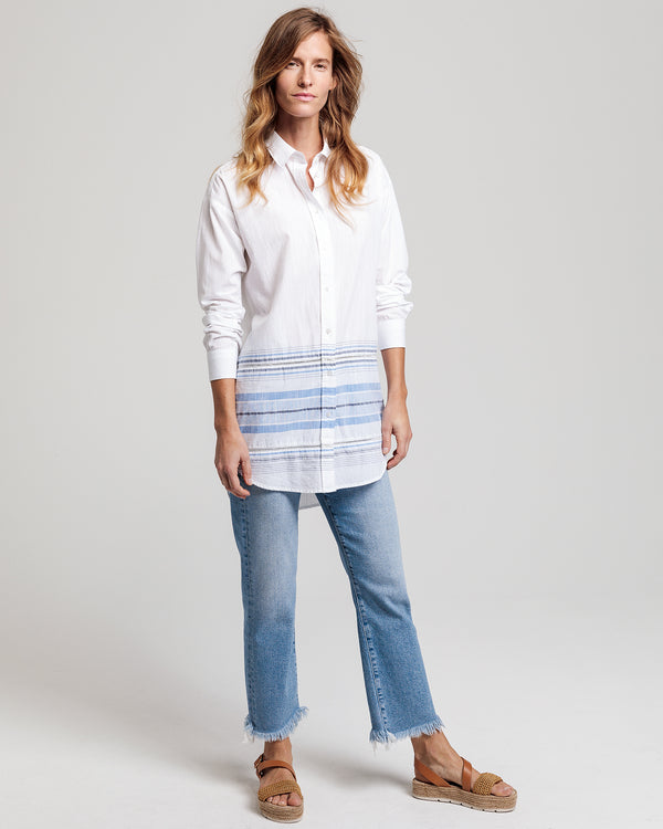 Slub Cotton Stripe Long Shirt