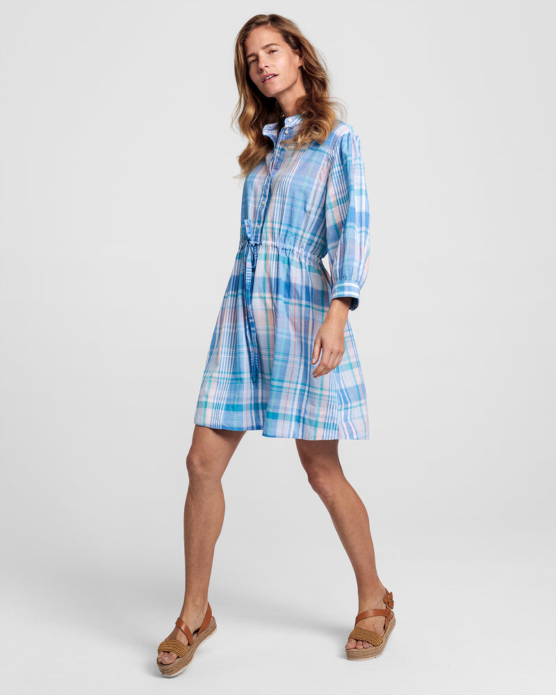 The Madras Dress - Pacific Blue